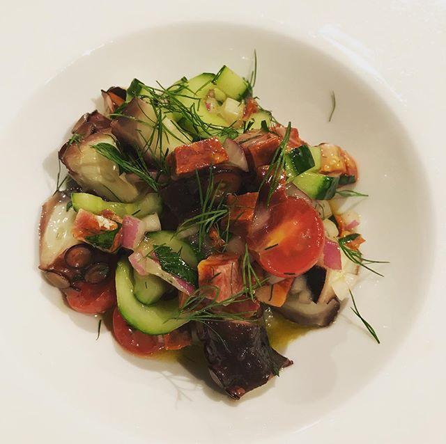 タコとキュウリ、サラミと赤玉ねぎのサラダ。ライムとコラトゥーラのソース。#nishiazabu#roppongi#nogizaka#restaurant#bistrot#french#cuisine#concombre #cucumber #poulpe #salad #salade #octopus #citronvert #lime#salami #西麻布#六本木#乃木坂#キュウリ#タコ#たこ#蛸#ライム#ビストロ#前菜#サラダ#レストラン
