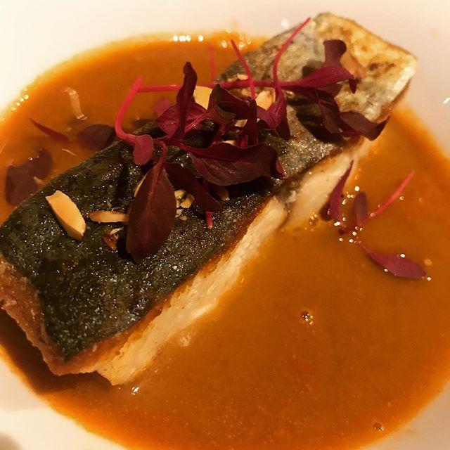 サゴチのポワレ、甘海老のスープ仕立て、アーモンドとマイクロアマランサス#bistro #restaurant #nogizaka #roppongi #nishiazabu #tokyo #french #cuisine #poisson #fish #gambas #shrimp #soup #甘エビ #えび #さごち #魚 #スープ #料理 #ビストロ #レストラン #麻布 #西麻布 #帝國食堂 #フレンチ #